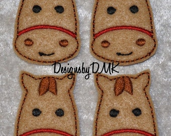 Cute Horsey with Red Bridle on Brown Felt Embroidered Embellishment Clippie Cover SET of 4