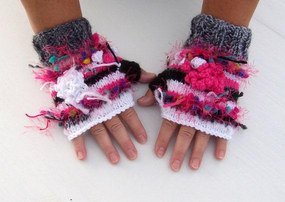 Free Shipping Gloves Fingerless Freeform Knit Crochet in Raspberry Pink, White, Grey, Black - Boho, Funky Winter Fashion Fun ON SALE Now