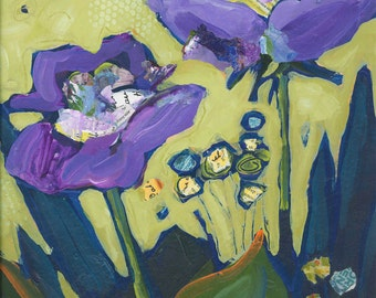 Purple Flowers Original Painting