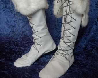Soft Genuine Leather Boots--- With Rabbit Fur Cuff--- Made to Order--- Wedding, Renaissance, Native American, Fairy, Viking, Historical
