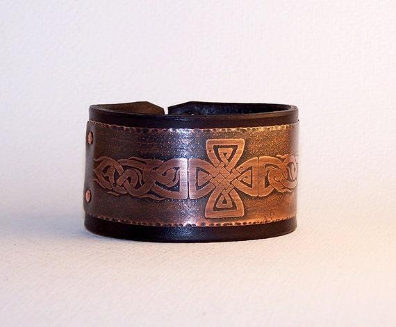Celtic - mens bracelet, natural black leather and copper