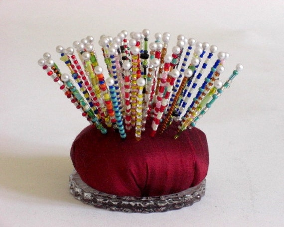 Pincushion, Sea Urchin, Dark Red Silk, Art Object, Over the Top, Pinsies, Beaded Pins, Gift for Quilter, Gift for Artist