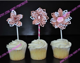 12 Flowers in Bloom Cupcake Toppers