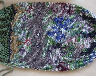 Beautiful Antique Victorian Micro Beaded Bag Purse With Rose Floral Ornementation Just Perfect  3