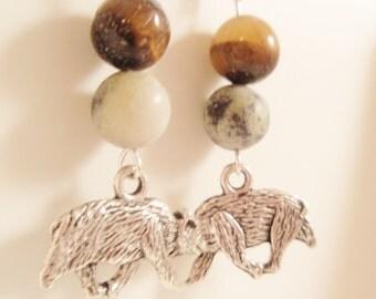 Earrings, Jasper, Tiger's Eye and Tibetan Silver Bears