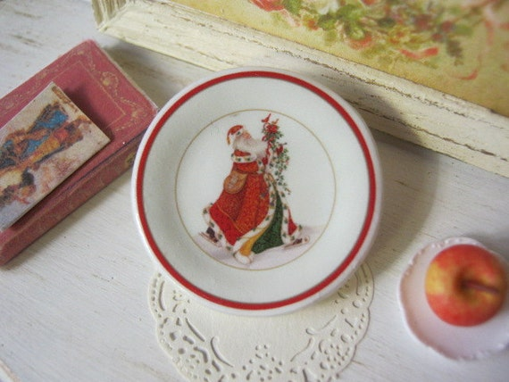 Skating Santa Dollhouse Plate