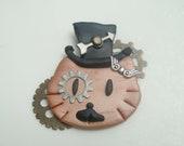Steampunk Hello Kitty Top Hat Pin