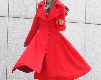Red Coat Big Sweep Women Wool Winter Coat Long Jacket Tunic / Fast Shipping- NC222
