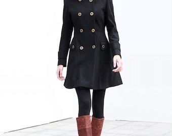Black Wool Hooded Coat Double breasted Hoodie Wool Coat Winter Jacket - Custom Made - NC423