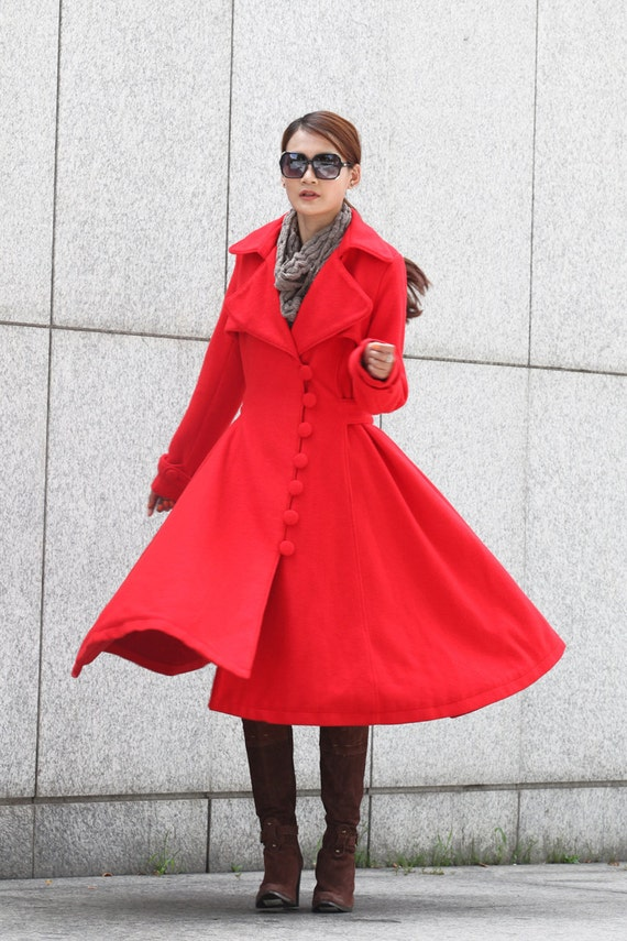 Womens Long Red Winter Coat - Tradingbasis
