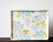 Mid Century French Fiberglass Tray, Purple Blue Flowers, Retro Vintage Decor Serving Made in France