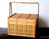 Vintage Picnic Basket Hamper, Antique Wood Green Wicker Handled 1940s Storage Kitchen Decor Camping