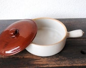 Utilitarian Monmouth Pottery Casserole, Lid French Handle Skillet Cookware, Deep Burgundy Spatterware Handled Serving Covered Dish