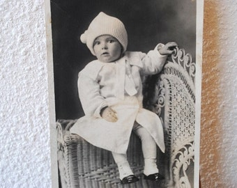 Vintage Real Photo Postcard Gorgeous Baby in Wicker Chair 1910 Antique Portrait Post Card