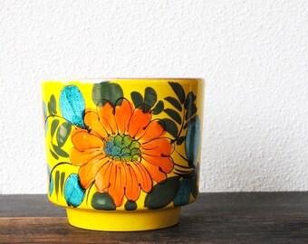 Mod Italian Yellow Pottery Cachepot Planter Pot, RAYMOR Teal Orange Flower Mid Century Italy