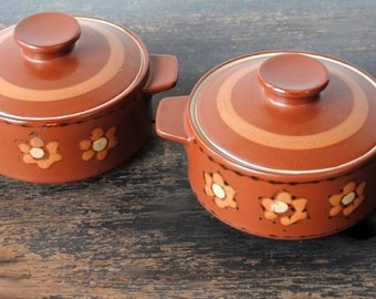 Vintage Rice Bowl Dish Set, Covered Handled Pots with Lids, Retro Stripe & Flower Stoneware, Mid Century Japan