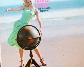 """1960s Frankie Carle Lp Record Album, Cover Art Blonde on Beach, """"Around the World"""" Piano & Orchestra"""