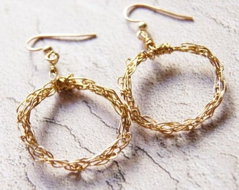 Gold Wire Hoop Earrings Knitted Wire Earrings Wire Wrapped