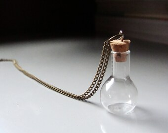 Miniature Bottle Necklace / Tiny Bottle Necklace / Jar Necklace / Flask Necklace / Empty Bottle Necklace / Vial Necklace / Chemistry Vial