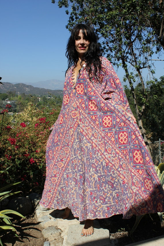 Indian Summer Old Gauzy Cotton One of a Kind Bohemian Maxi Dress Circa 1960s 1970s
