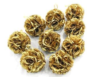 "7"" Gold Silk Rose Kissing Pomander Balls for Wedding Party Floral Decorations"