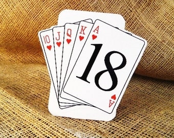 SET OF 10 Vegas Poker Table Number Cards - Tented Style custom colors available