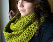 Crochet Infinity Scarf- Lime Green-SIZE MEDIUM