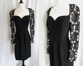 Vintage - Saks Fifth Avenue Travilla Dress - 1980s does 40s Dress - Black w/ Lace Sequins - Medium