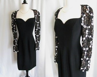 Vintage - Saks Fifth Avenue Travilla Dress - 1980s does 40s Dress - Black w/ Lace Sequins - Medium