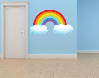 PRESCHOOL CLASSROOM Rainbow With Clouds Outdoor Scene Boy Girl Kids Children Picture Art Mural Vinyl Wall Decal Color 628 30X50