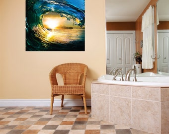 BEAUTIFUL Water Wave Outdoor Scene Ocean Sun Picture Art Mural Vinyl Wall Decal Peel & Stick Sticker Graphic Design Color 763 40X40