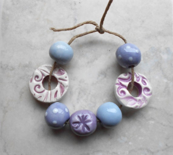 Handmade Ceramic  Bead Set with Donuts in Lilac Shades