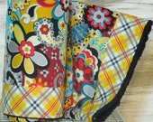 Baby Girl Modern Quilt/Blanket - Soft minky fleece backing (ready to ship)  - Psychedelic Flowers with Plaid Trim