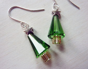 Simply Festive Christmas Tree Earrings - Crystal Christmas Trees with Star by Weirdly Cute Jewelry - Gift Idea Under 25
