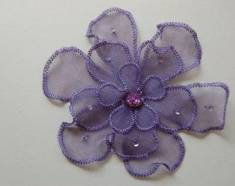 2pc Large - Sequin Purple Organza Flower