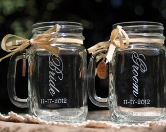 Bride and Groom Wedding Mason Jars - Choice of 10 Fonts - Left Handle or Right Handle Choices