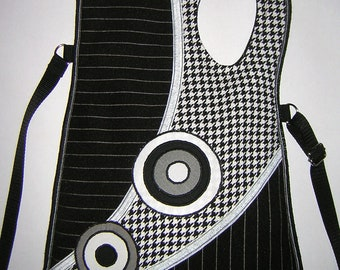 Sling Bag art crossbody purse Medium Plain Haversack mixed fabrics in Black and White striped houndstooth with Circles