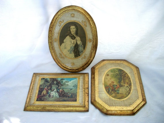 Vintage Italy Wood Wall Plaques - 3 included - Italian - Florentine Tole Style