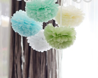 Green blue mint paper pom poms  set -  5 large tissue paper PomPoms  - party wedding decoration set