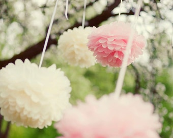25 Large size Tissue PAPER POM POMS set - wedding decorations -  pick your colors - very fluffy - party decor