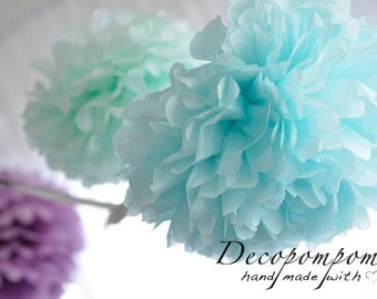 "4 extra large  19""/49cm  tissue paper  pom poms  - custom colors-weddings /birthdays /party decorations / classroom / gender reveal"