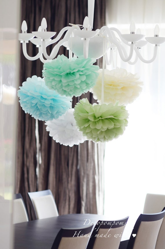 """9 large 37cm /14""""  tissue paper PomPoms  -  very fluffy -  your colors - hand made"""