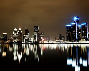 Detroit Photography - Detroit Night Reflection Color Skyline