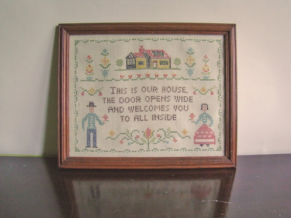 vintage framed folky Welcome stitching