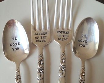 Father & Mother of the Bride Fork and Spoon Set  - Hand Stamped - Vintage Wedding -Gift for Parents of the Bride and Groom