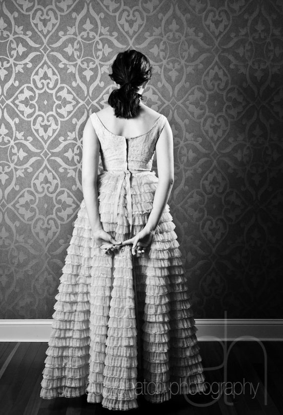 Mavi - Vintage 1950's Blue Formal Prom Winter Dress Junior Bridesmaid Dress