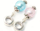Euro Style Fit Dangle Charm Drop Set In Silver Foil Blue and Silver Foil Pink Lampwork Glass Beads - 2 Piece Set