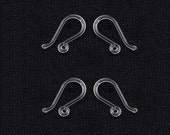 Wholesale Lot - Hypoallergenic Clear Silicone Dangle Earrings Hooks with Loop Hole - dangle Ear Wire jewelry design making DIY findings