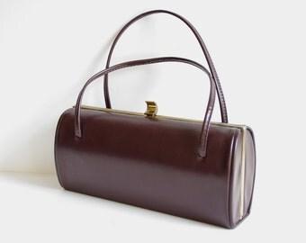 brown vegan leather BARREL handbag purse brass clasp 1960s