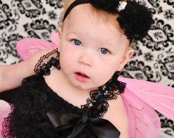 Petti Romper Lace, Elegant Black Ruffled Lace Petti Romper Baby Infant Toddler Photography Prop Photo Shoot